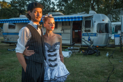Clementine and Bastian Stadler await their performances with the Flynn Creek Circus  in Calistoga.