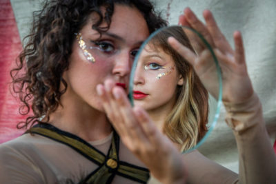 """We are very different people but, sometimes, I feel we merge into one individual.""  Flynn Creek Circus aerialists Jenavieve Snyder and Maya DeLoche have performed a tandem act for each of the last three years."