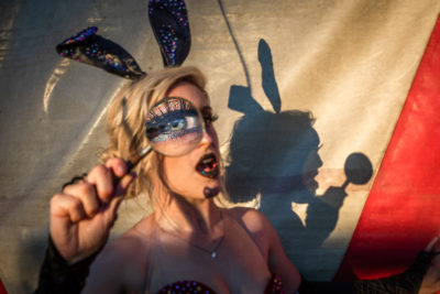 Amelia Van Brunt performs as the Master of Ceremonies with the Flynn Creek Circus while in Calistoga.
