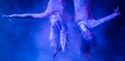 Sixteen year old Jenavieve Snyder and eighteen year old Maya Deloche perform aerial Hoop as Duo Lyra for the Flynn Creek Circus while in Calistoga.
