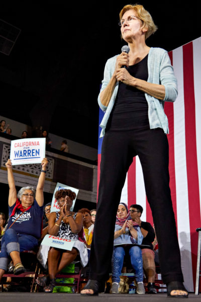 Massachusetts senator Elizabeth Warren speaks at a Town Hall event for her presidential campaign, at the Shrine Expo Hall, Los Angeles, California, on August 21st 2019