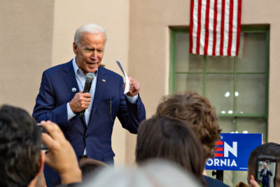 Joe Biden speaking at an event for his presidential candidacy, at the Los Angeles Trade-Technical College, in Los Angeles, California, on Thursday, November 14th 2019. (Marco Pallotti/The Corsair)